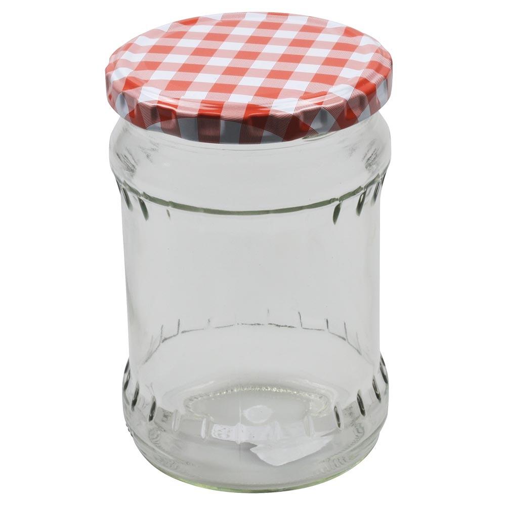 Einkochglas 440ml Sturzglas Wurstglas Deckel Kariert