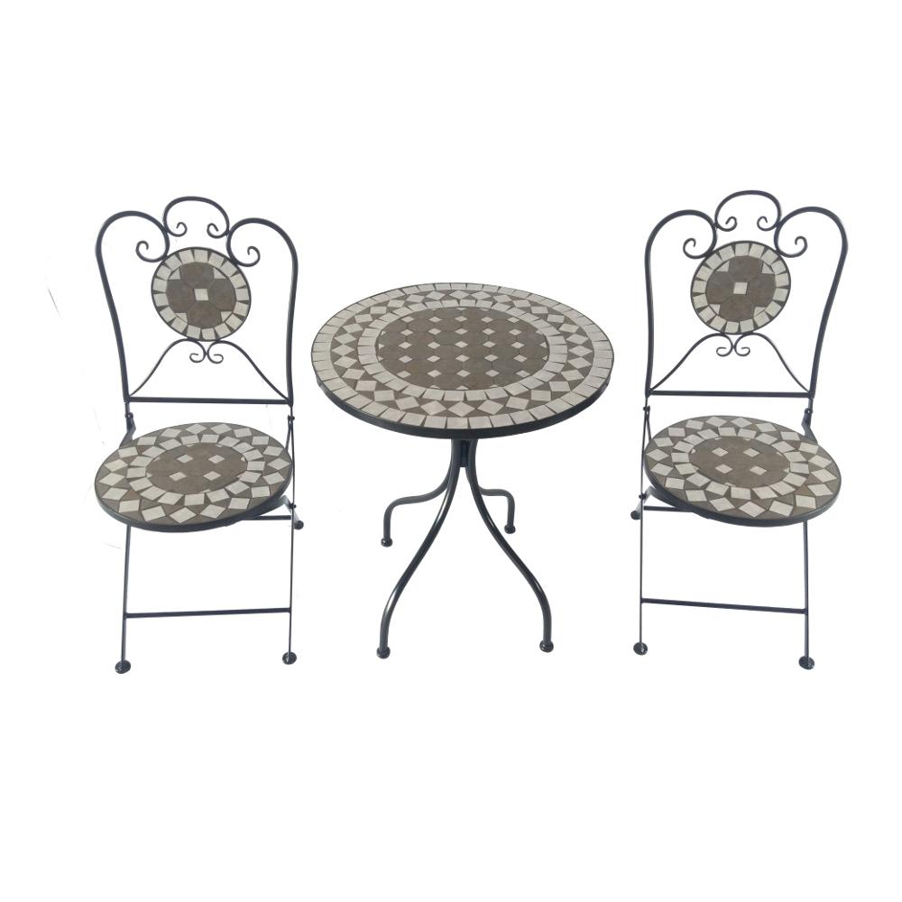 Balkonset 3-teilig Metall Mosaik Gartentisch rund und Gartenstühle ...