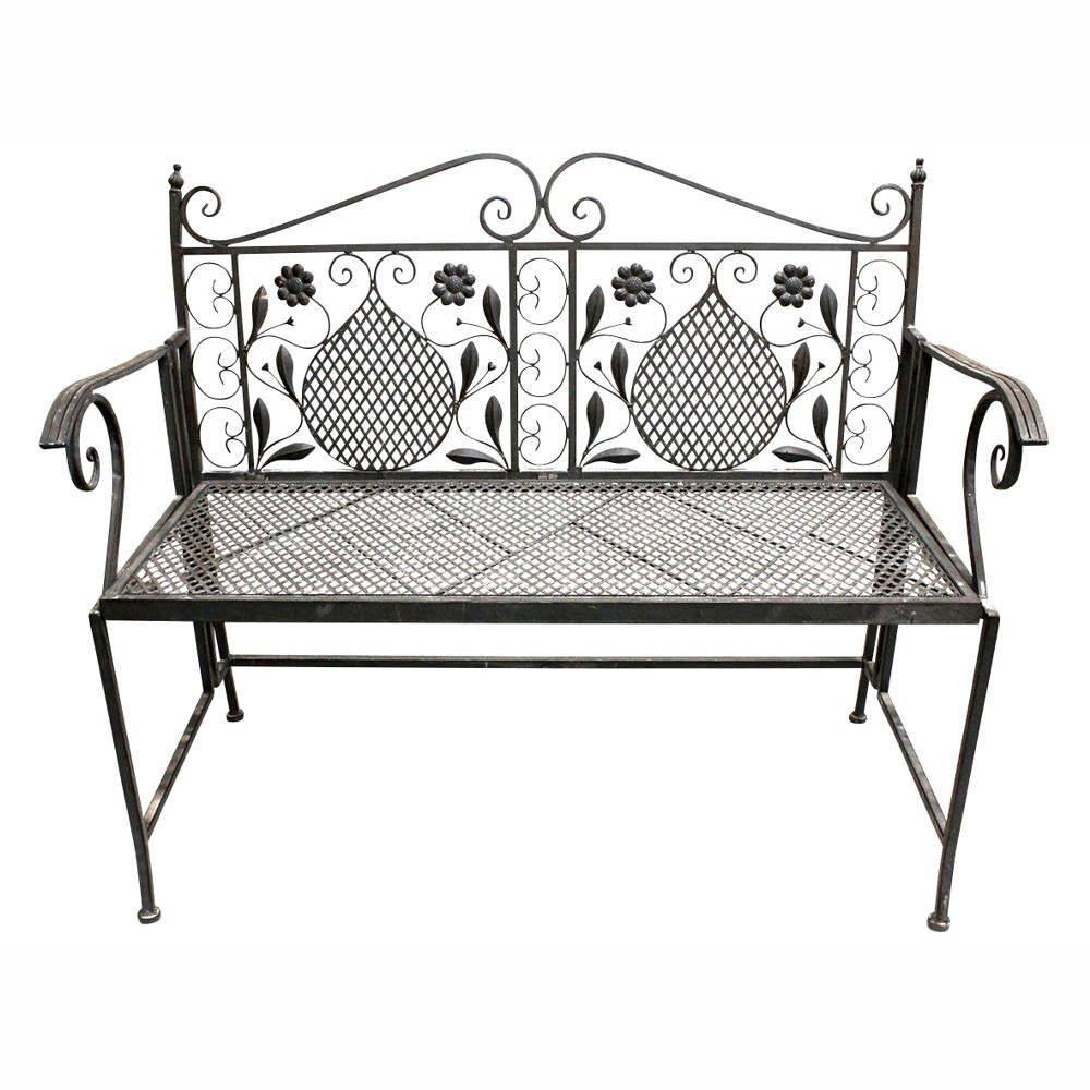 gartenbank 2 sitzer 109x57x92cm eisen antikoptik grau sonderpreis baumarkt. Black Bedroom Furniture Sets. Home Design Ideas