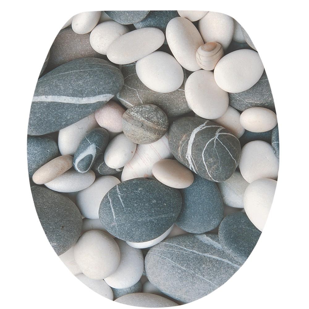 wc sitz acryl absenkautomatik dekor grey stones holzkern inkl befestigung sonderpreis baumarkt. Black Bedroom Furniture Sets. Home Design Ideas