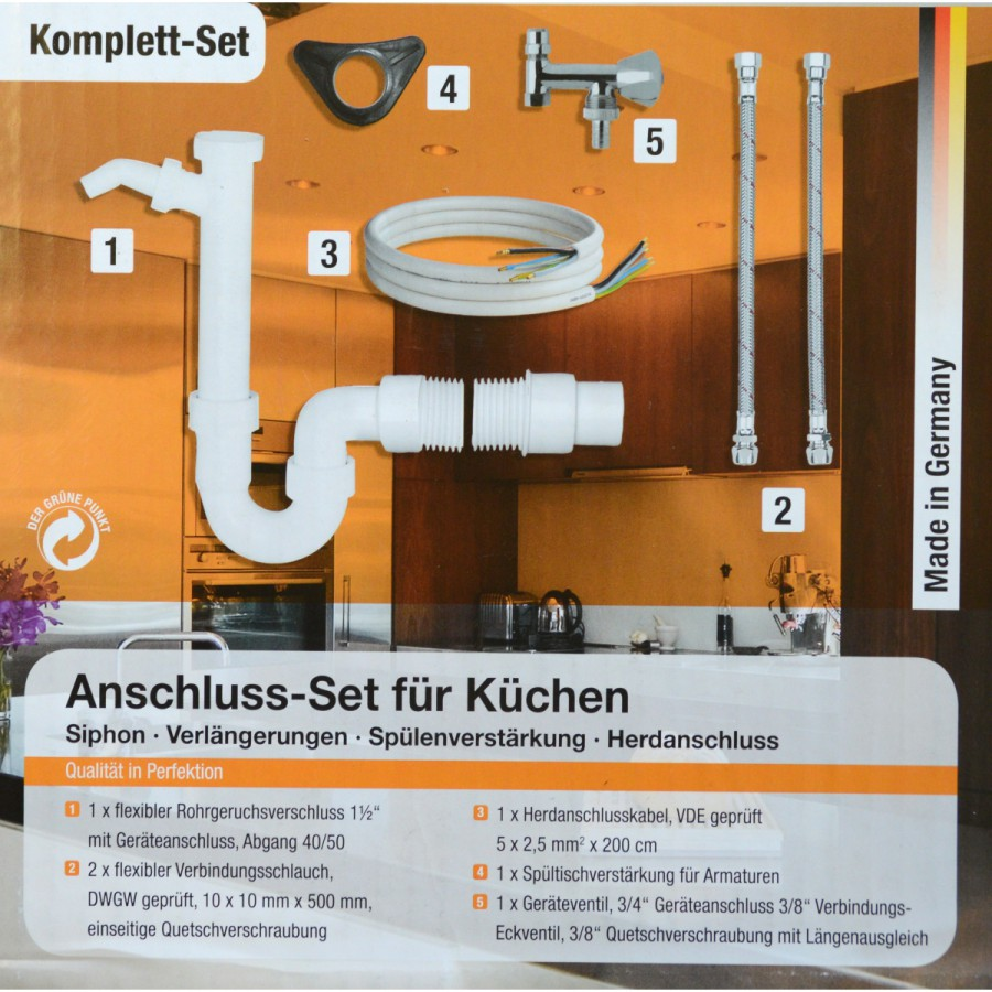 Eyckhaus Ablaufgarnitur Anschlussset Kuche Siphon Herdanschluss Spule