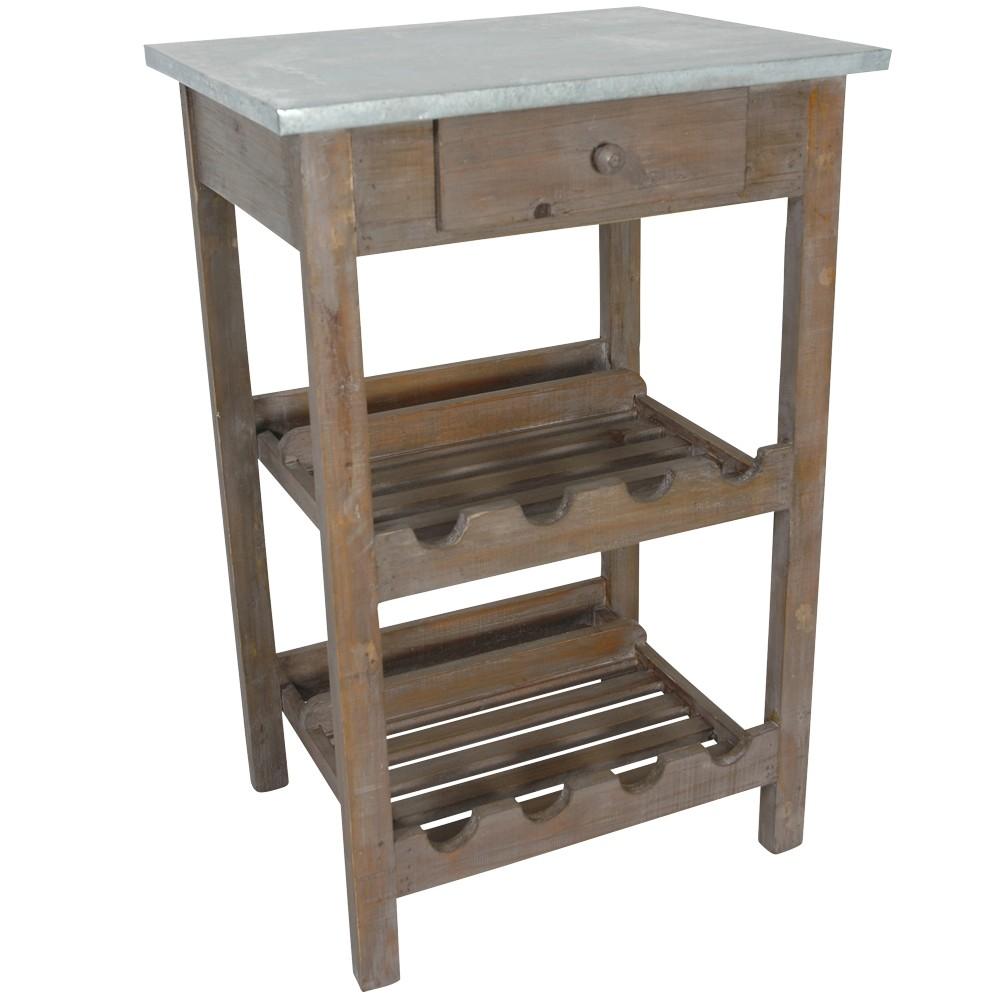 tisch mit weinregal 51x40x77cm holz tischplatte verzinkt sonderpreis baumarkt. Black Bedroom Furniture Sets. Home Design Ideas