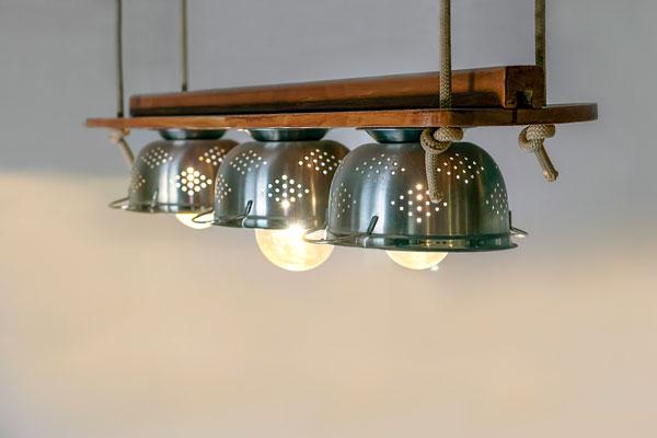 Lampe aus Metallsieben