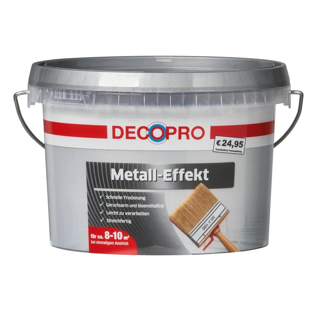 DecoPro Wandfarbe Metall Effekt 1 Liter Silber