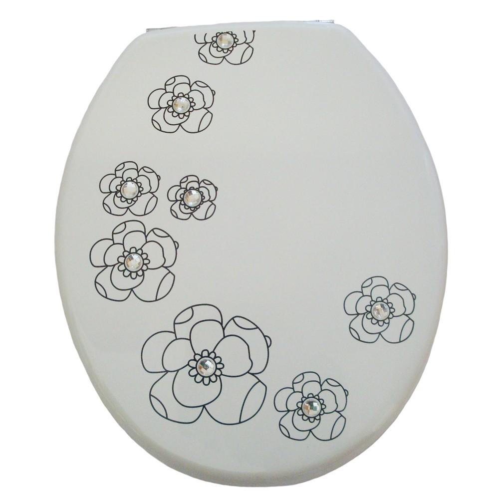 wc sitz mdf holzkern motiv white flower inkl befestigung sonderpreis baumarkt. Black Bedroom Furniture Sets. Home Design Ideas