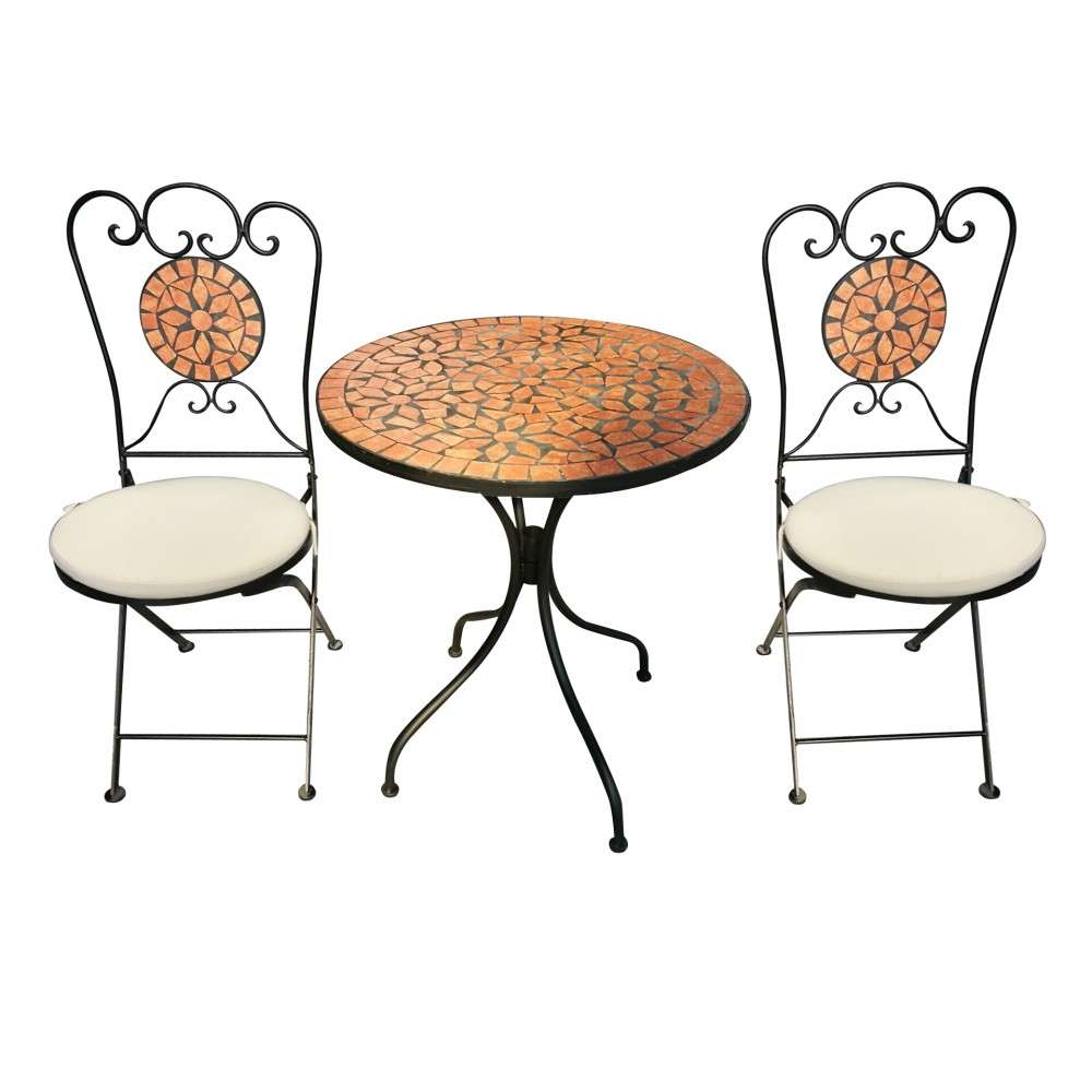 Balkonset 5-teilig Metall Mosaik Gartentisch rund und Gartenstühle ...