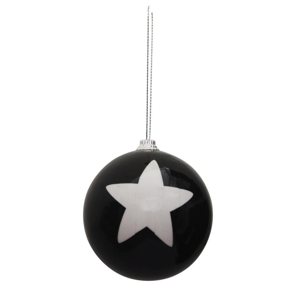 weihnachtskugel 8cm schwarz wei stern gestreift christbaumschmuck baumkugel sonderpreis baumarkt. Black Bedroom Furniture Sets. Home Design Ideas