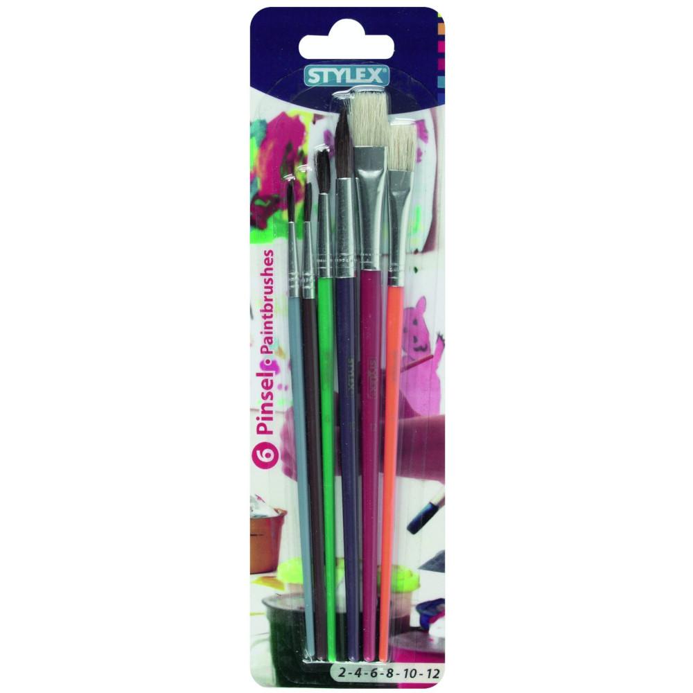 Stylex Pinselset Schule 6tlg Borsten und Haarpinsel verschiedene