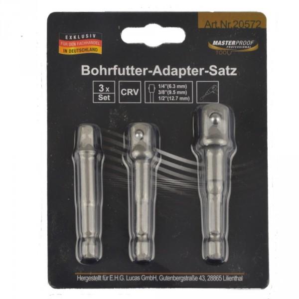 "Bohrfutter Adaptersatz 3tlg. 1/4"" 3/8"" 1/2"""