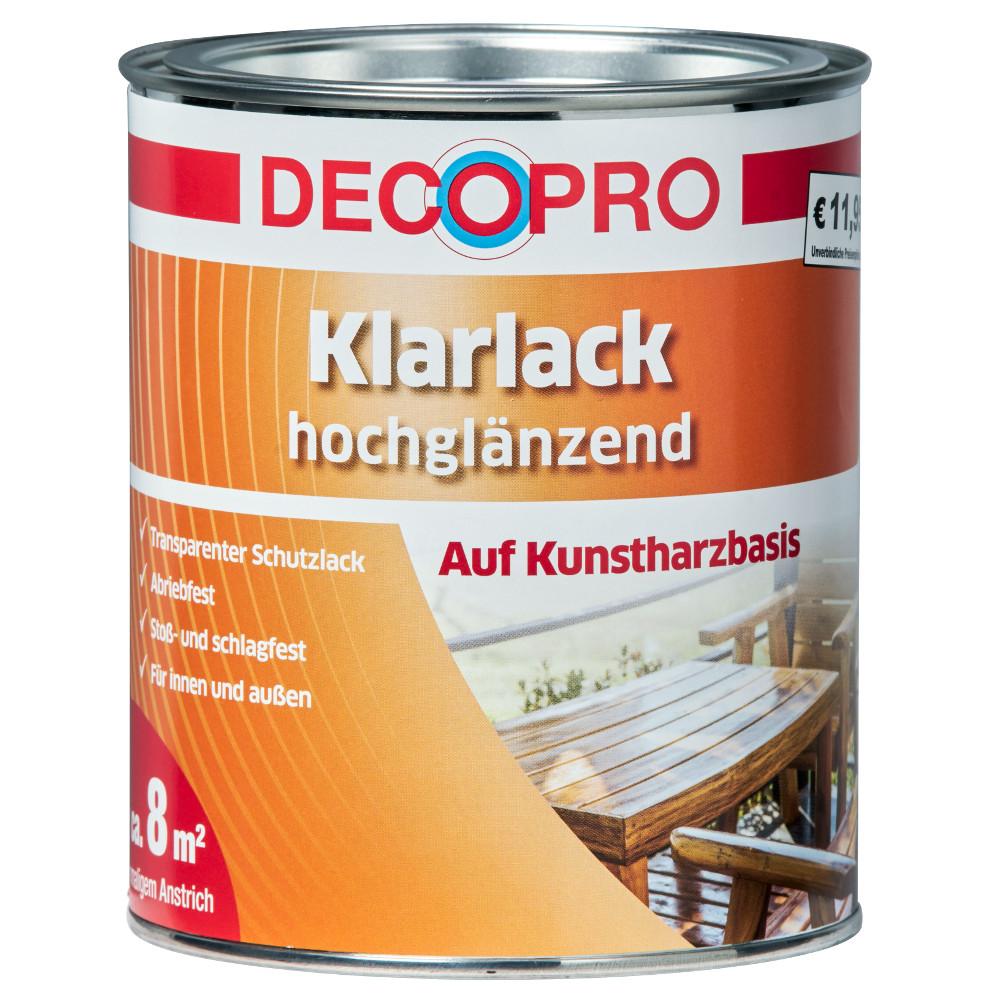 decopro klarlack farblos 750 ml hochglänzend | sonderpreis baumarkt