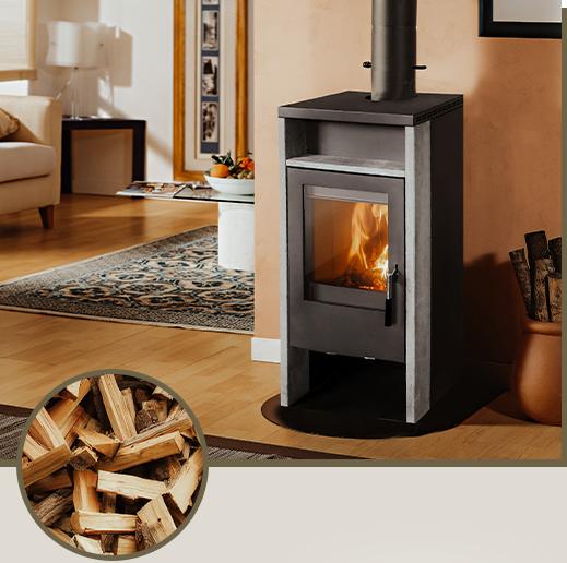 """brennender Firefix Kaminofen """"Kronos"""" in einem Wohnzimmer"""
