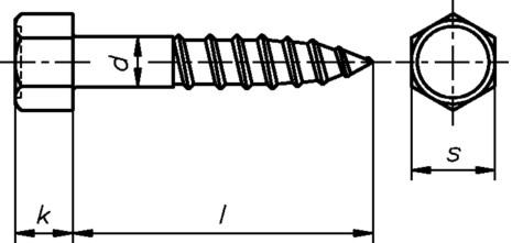 Sechskant Holzschraube 10,0x180 DIN571 galvanisch verzinkt 6-kant Schlüsselschraube