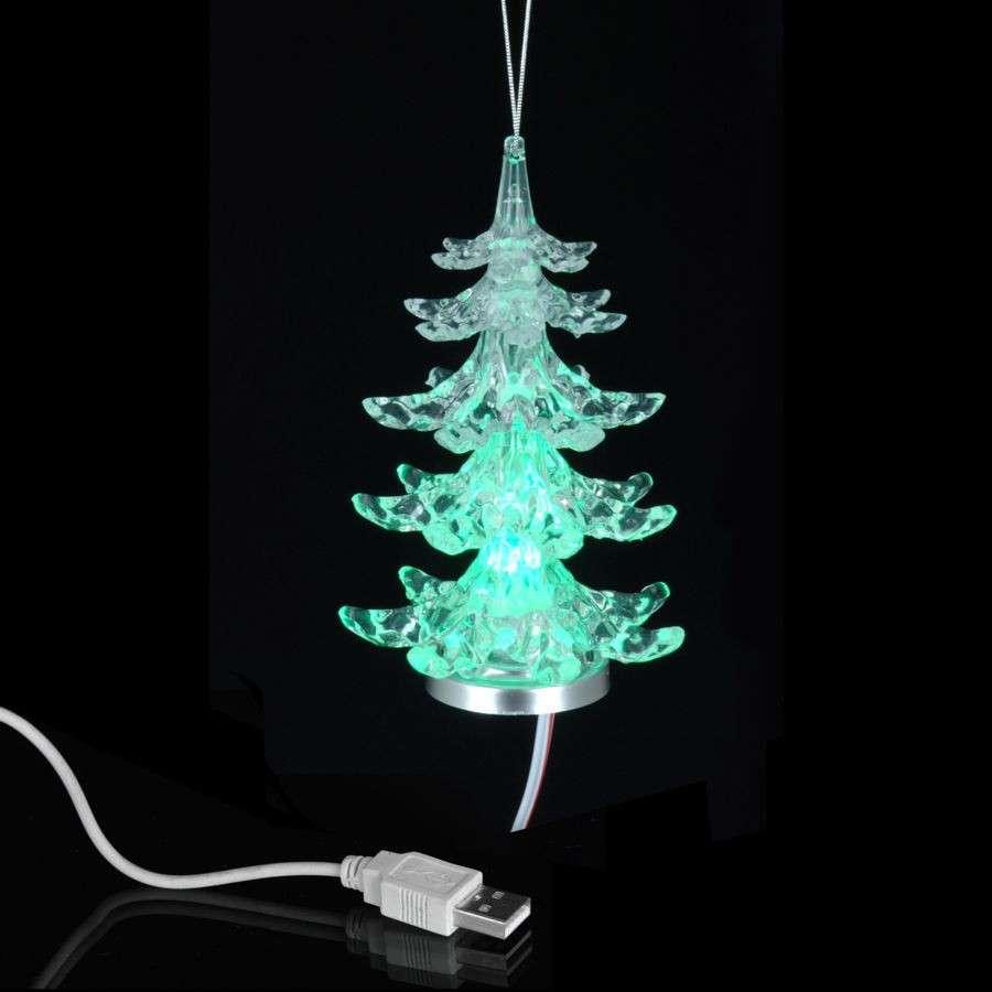 Weihnachtsbaum Kunstoff.Usb Weihnachtsbaum 11cm Glasklar Kunststoff Led Leuchte Weihnachten Tannenbaum
