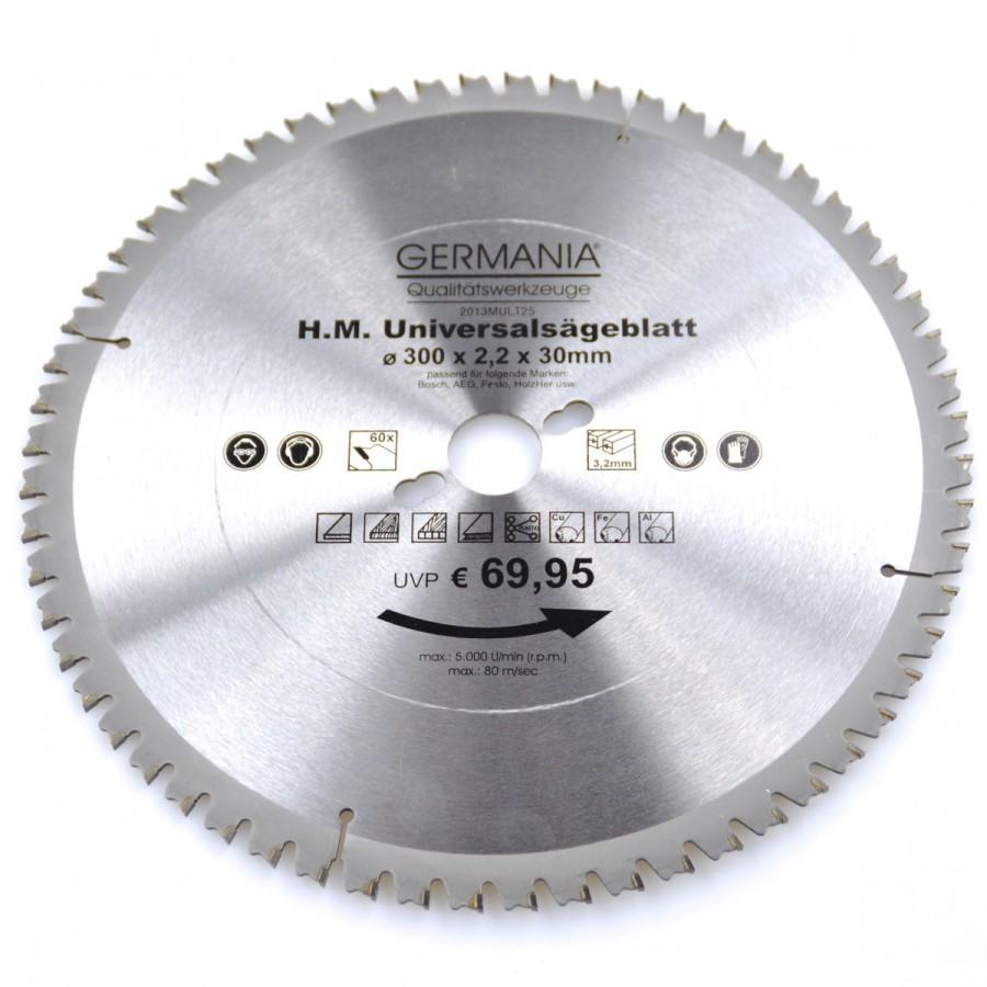 hm multi sägeblatt 300x30mm 60zähne universal alu holz kunststoff