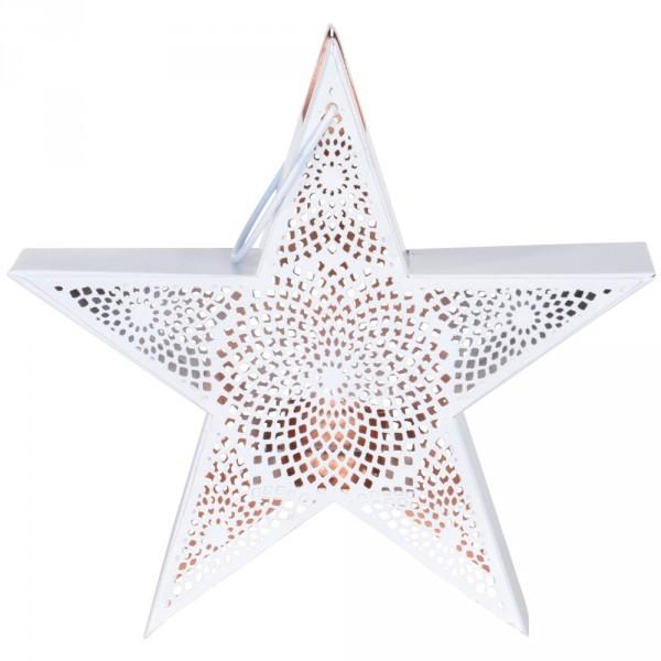 Windlicht Star 24x8x24cm weiss/kupfer Metall Gartenlaterne