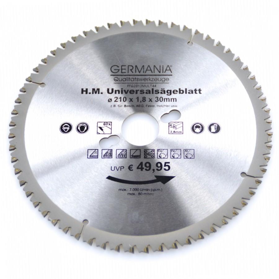 hm multi sägeblatt 210x30mm 60zähne universal alu holz kunststoff