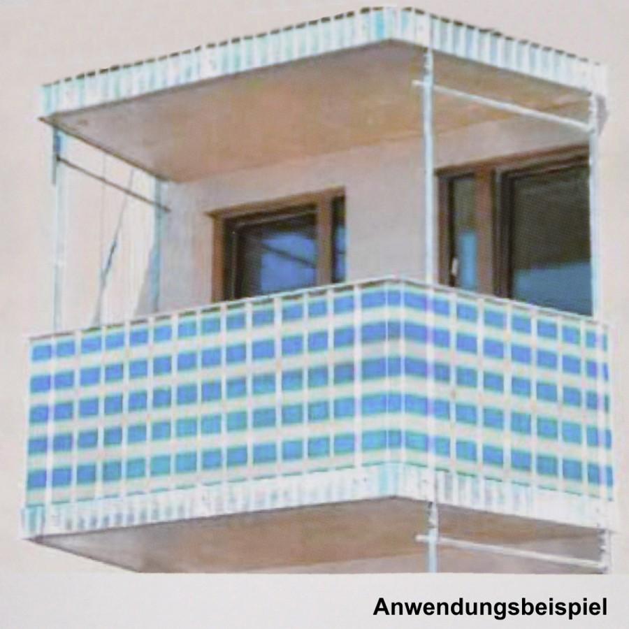 Balkon Sichtschutz 5x0 9m blau weiß Windschutz Windfang Blende