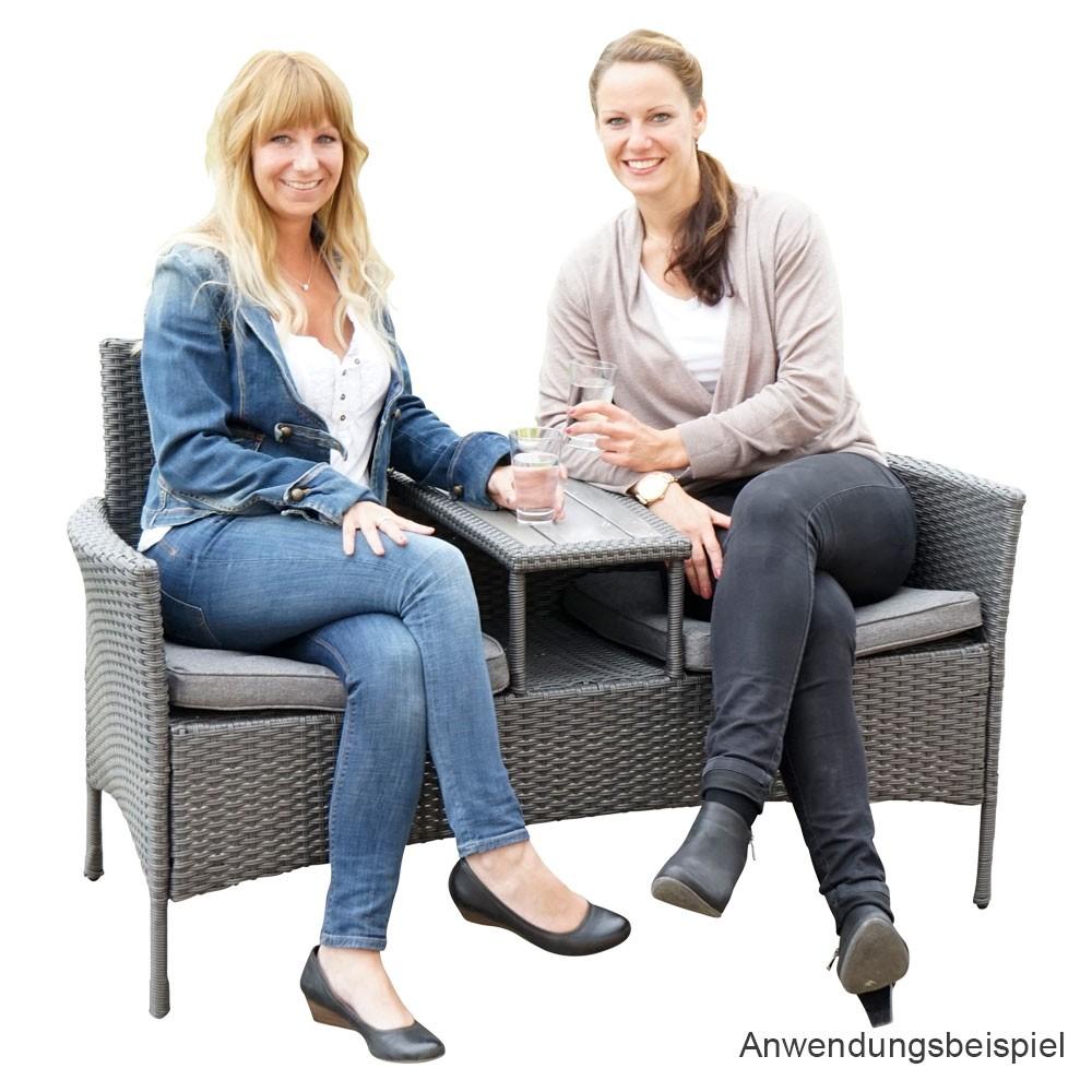 gartenbank mit tisch 2 sitzer aus polyrattan dunkelgrau. Black Bedroom Furniture Sets. Home Design Ideas
