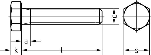 Maschinenschraube 8x60 mm M8 DIN933 galvanisch verzinkt 8.8 Sechskantschraube