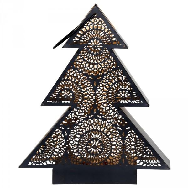 Windlicht Tree 34x9x40cm schwarz/gold Metall Gartenlaterne