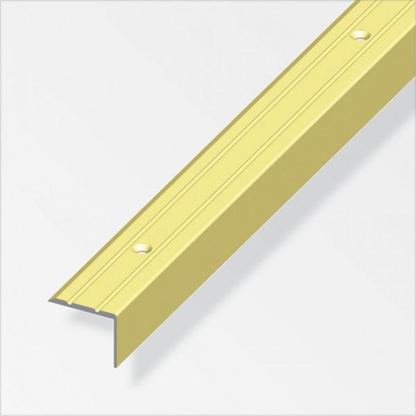 Treppen-Profil 100x2,5x2cm Aluminium messing gerillt gelocht