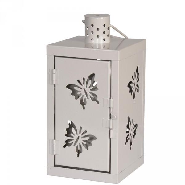 Gartenlaterne Schmetterling 25cm grau taupe Windlicht
