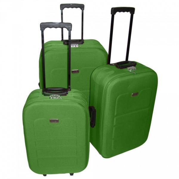 Trolley 3tlg Set lime grün EVA Kunststoff Koffer Kofferset Reisekoffer
