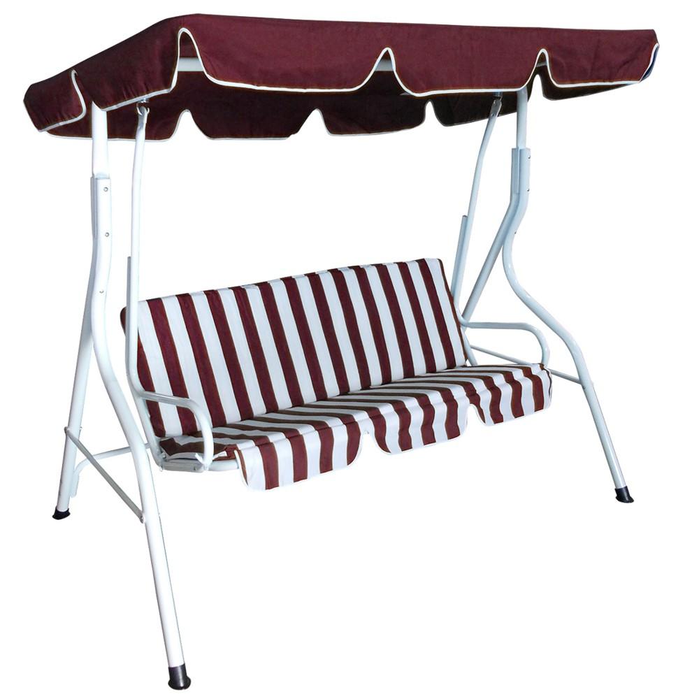 Hollywoodschaukel 3 Sitzer Florida 170x110x153cm Weiß/bordeaux  Gartenschaukel | Sonderpreis Baumarkt