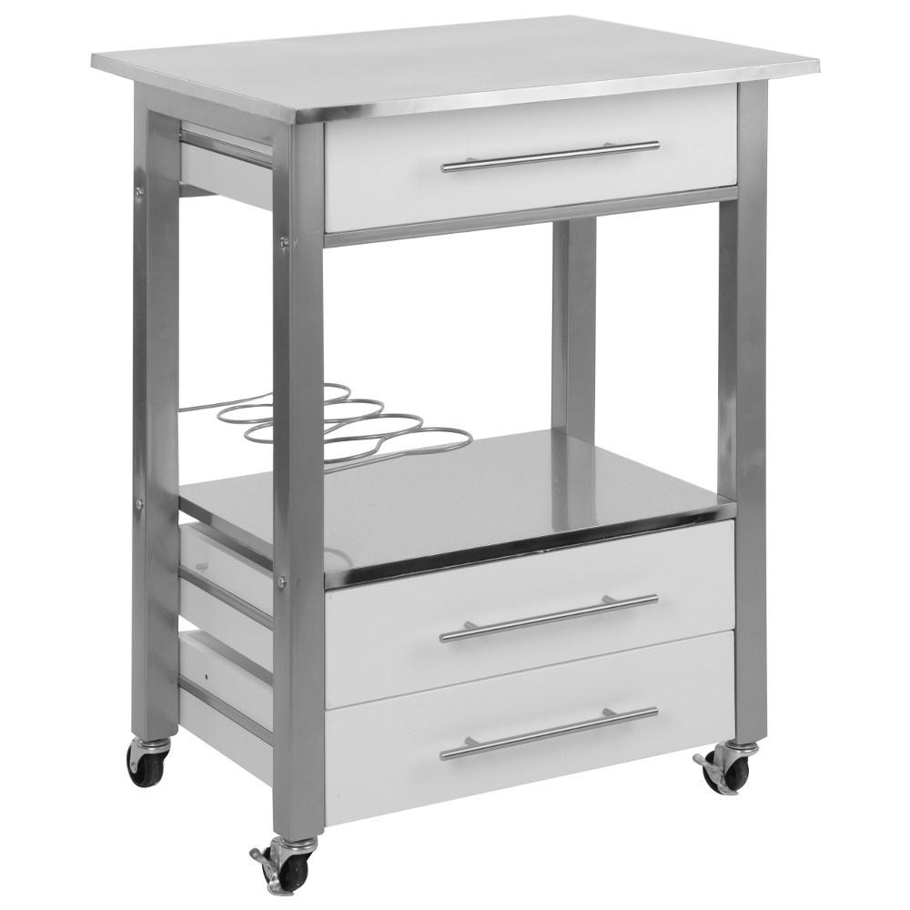 Details zu Küchenwagen 60x50x84,5 cm Metallrahmen 3 Schubladen und  Weinregal Servierwagen